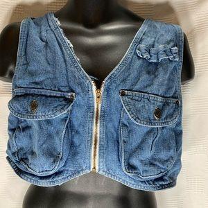 Switch zip up front crop denim vest S